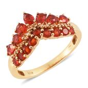 Crimson Fire Opal 14K YG Over Sterling Silver Ring (Size 9.0) TGW 1.15 cts.