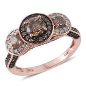 Natural Champagne Diamond, Diamond Black Rhodium & 14K RG Over Sterling Silver Ring (Size 8.0) TDiaWt 2.00 cts, TGW 2.00 cts.