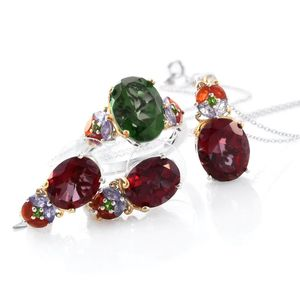 Alexandria Quartz, Multi Gemstone 14K YG and Platinum Over Sterling Silver Earrings, Ring (Size 8) and Pendant With Chain (20 in) TGW 21.21 cts.