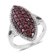 Anthill Garnet, Thai Black Spinel, Cambodian Zircon Platinum Over Sterling Silver Ring (Size 7.0) TGW 3.19 cts.