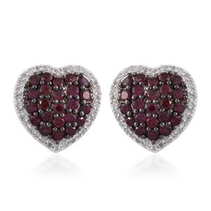 Anthill Garnet, Cambodian Zircon Platinum Over Sterling Silver Heart Stud Earrings TGW 3.75 cts.