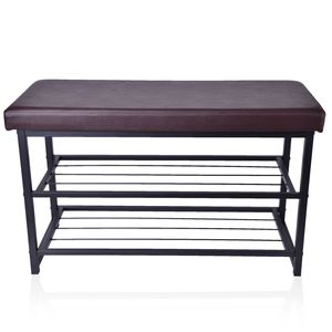Brown Faux Leather Double Layer Storage Bench (31x12x18 in)