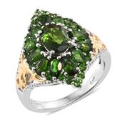 Russian Diopside 14K YG and Platinum Over Sterling Silver Cluster Ring (Size 7.0) TGW 4.19 cts.