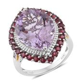 Rose De France Amethyst, Orissa Rhodolite Garnet, White Topaz 14K YG and Platinum Over Sterling Silver Ring (Size 7.0) TGW 17.47 cts.