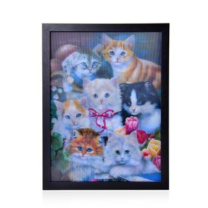Dogs, Cats 3D Painting with Photo Frame (16.7x12.7 in)