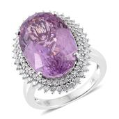 Tony's Collector Show 14K WG Kunzite, Diamond Ring (Size 8.0) TDiaWt 0.72 cts, TGW 18.37 cts.