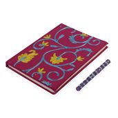 Purple Embroidery Cotton Note Book (6x8 in) with Pen