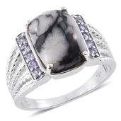 Austrian Pinolith, Tanzanite Platinum Over Sterling Silver Ring (Size 8.0) TGW 8.59 cts.