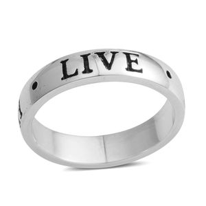 Silvertone Live, Love, Laugh Band Ring (Size 8.0)