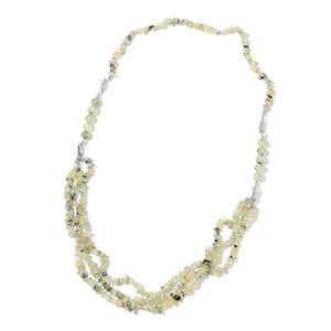Multi-Wear Prehnite Silvertone Magnetic Clasp Jewelry Set (Bracelets, Necklace) TGW 672.00 cts.