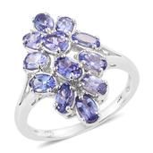 Tanzanite Platinum Over Sterling Silver Ring (Size 5.0) TGW 2.85 cts.