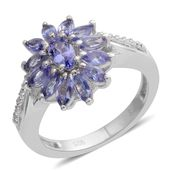 Tanzanite, Cambodian Zircon Platinum Over Sterling Silver Flower Ring (Size 6.0) TGW 1.31 cts.