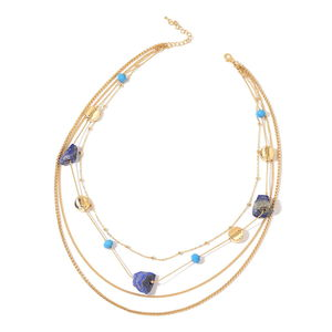 Lapis Lazuli, Blue Glass, Chroma Goldtone Necklace (23 in) TGW 125.00 cts.