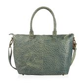 Olive Ostrich Skin Embossed Genuine Leather Tote with Standing Studs and Removable Strap (42 in) (14x4.75x11.5 in)