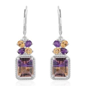 Anahi Ametrine, Multi Gemstone Platinum Over Sterling Silver Lever Back Earrings TGW 6.36 cts.