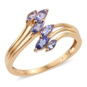 Tanzanite 14K YG Over Sterling Silver Bypass Ring (Size 7.0) TGW 0.68 cts.