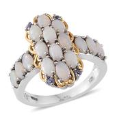 Australian White Opal, Tanzanite 14K YG and Platinum Over Sterling Silver Ring (Size 6.0) TGW 4.32 cts.