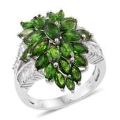 Russian Diopside, White Topaz Platinum Over Sterling Silver Cluster Split Ring (Size 6.0) TGW 7.80 cts.