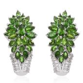 Fire Cracker Deal Russian Diopside, White Topaz Platinum Over Sterling Silver Earrings TGW 8.76 cts.