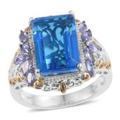 Caribbean Quartz, Tanzanite 14K YG and Platinum Over Sterling Silver Ring (Size 8.0) TGW 9.95 cts.
