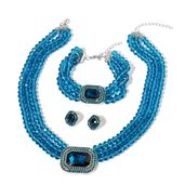 Teal Austrian Crystal and Glass Silvertone Earrings, Bracelet (8-10 in) and Necklace (18.00 In) TGW 718.00 cts.