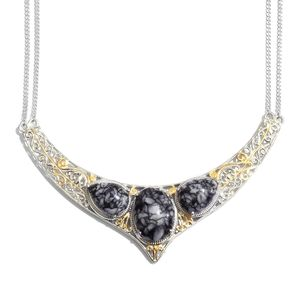 Austrian Pinolith 14K YG and Platinum Over Sterling Silver Necklace  (18 in) TGW 35.90 cts.