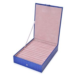 Blue Lizard Skin Pattern Faux Leather Ring Box with Snap Button Closure (10.8x8.3x2.4 in)