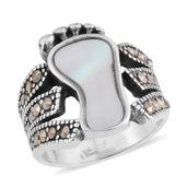 White Mother of Pearl, Swiss Marcasite Black Oxidised Stainless Steel Footprint Ring (Size 6.0) TGW 10.00 cts.