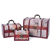 Set of 3 Antique Red Wine Wood and Map Print Faux Leather Nesting Treasure Chest with Latch Lock and Handle (8.5x6x5.5 in, 6x4.5x4 in, and 4.5x3x2.5 in)
