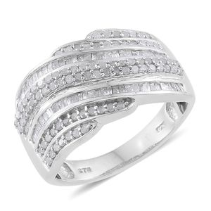 Diamond Platinum Over Sterling Silver Ring (Size 9.0) TDiaWt 0.98 cts, TGW 0.98 cts.