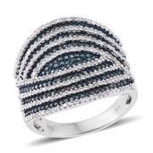 Blue Diamond (IR), Diamond Blue Rhodium & Platinum Over Sterling Silver Ring (Size 8.0) TDiaWt 1.50 cts, TGW 1.50 cts.
