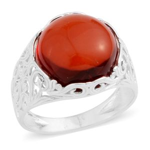 Baltic Amber Platinum Over Sterling Silver Ring (Size 7.5)
