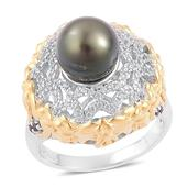 Pearl Expression Tahitian Pearl, Thai Black Spinel, White Zircon 14K YG Over and Sterling Silver Ring (Size 6.0) TGW 0.87 cts.