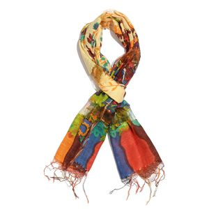 Tan, Multi Color Floral Print 65% Silk and 35% Rayon Blend Scarf with Fringe (70x22 in)