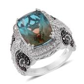 Aqua Terra Costa Quartz, Thai Black Spinel, Cambodian Zircon Platinum Over Sterling Silver Ring (Size 10.0) TGW 13.14 cts.