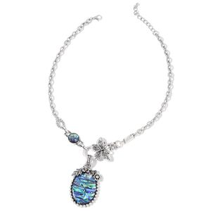 Abalone Shell, White Austrian Crystal Silvertone Necklace (18 in)