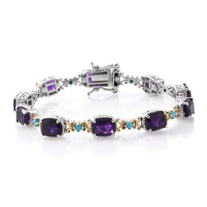 Lusaka Amethyst, Arizona Sleeping Beauty Turquoise 14K YG and Platinum Over Sterling Silver Bracelet (7.25 In) TGW 14.65 cts.