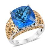 Caribbean Quartz 14K YG and Platinum Over Sterling Silver Ring (Size 7.0) TGW 12.35 cts.