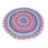 Mandala Printed 90% Polyester and 10% Cotton Luxury Round 2 People Beach Mat, Blanket, or Towel with Fringe (59 In)