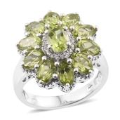Hebei Peridot, Cambodian Zircon Platinum Over Sterling Silver Ring (Size 5.0) TGW 6.55 cts.