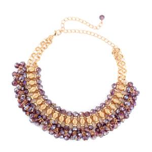 Purple Glass Goldtone Charm Choker or Bib Necklace (13-19 in)