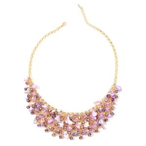 Purple Glass, Purple Shell Goldtone Bib Necklace (20 in)