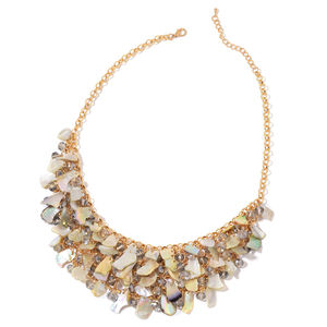 Gray Glass, Shell Goldtone Bib Necklace (20 in)