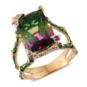 GP Watermelon Quartz, Multi Gemstone 14K YG Over Sterling Silver Ring (Size 7.0) TGW 11.41 cts.