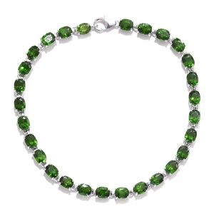 Russian Diopside Platinum Over Sterling Silver Bracelet (7.50 In) TGW 13.36 cts.