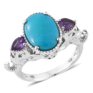 Arizona Sleeping Beauty Turquoise, Amethyst Platinum Over Sterling Silver Double Elephant Head Ring (Size 8.0) TGW 4.89 cts.
