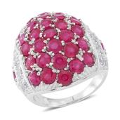 Niassa Ruby, White Topaz Sterling Silver Cluster Dome Ring (Size 7.0) TGW 10.05 cts.