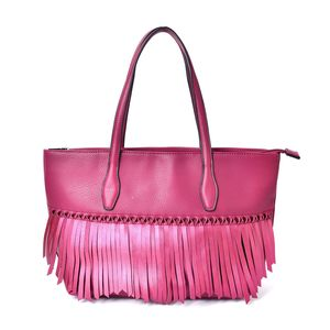 Burgundy Faux Leather Twisted Fringe Structured Shoulder Bag (14x5.5x11 in)
