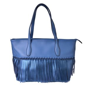Slate Blue Faux Leather Twisted Fringe Structured Shoulder Bag (14x5.5x11 in)