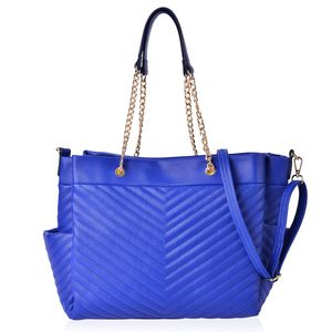 Blue Quilted Chevron Pattern Faux Leather Trapezoid Shoulder Bag with Removable Strap (17x6x11 in)